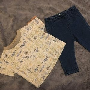Other - jeggings and travel/compass rose shirt